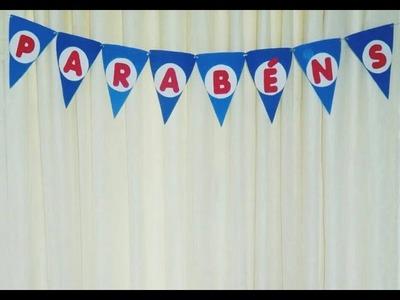 DIY - Tutorial: Como fazer bandeirinhas para decorar mesa de festa. Por: Amanda Branciforte