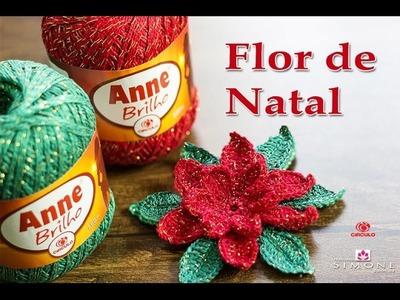 Flor de Natal - passo a passo - Professora Simone #Crochet