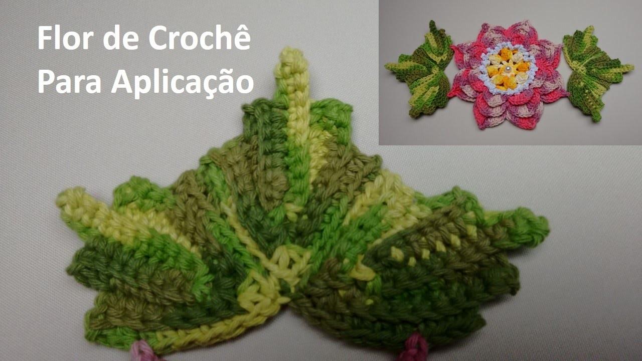 Folhas de Crochê Para Aplicação no Jogo de Banheiro 04