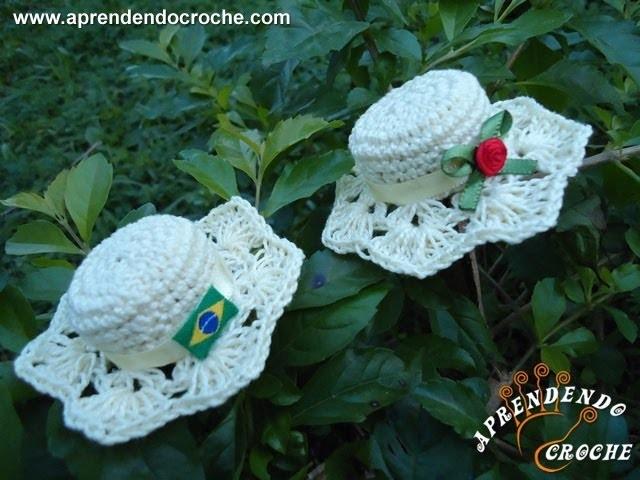 Lembrancinha Nascimento - Mini Chapéu em Crochê
