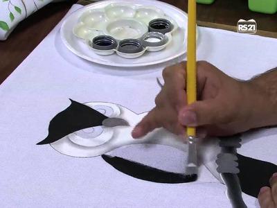 Mulher.com 29.04.2013 Luciano Menezes - Pintura em tecido coruja  Parte 1.2
