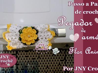 Passo a Passo de Crochê Pegador de Armário e Geladeira Flor Aninha por JNY Crochê