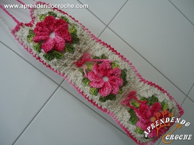Porta Papel Higiênico - Jogo Banheiro Crochê Floral