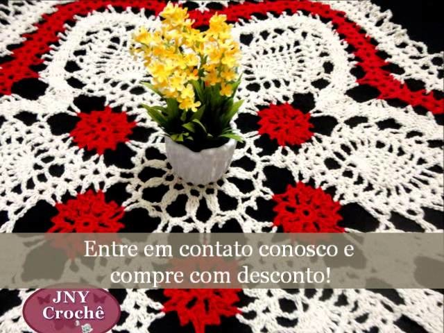 Toalha de mesa renda de bugres Vermelha por JNY Crochê