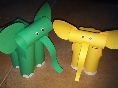 Como fazer brinquedos de papel - Elefante de cartolina - Paper toys