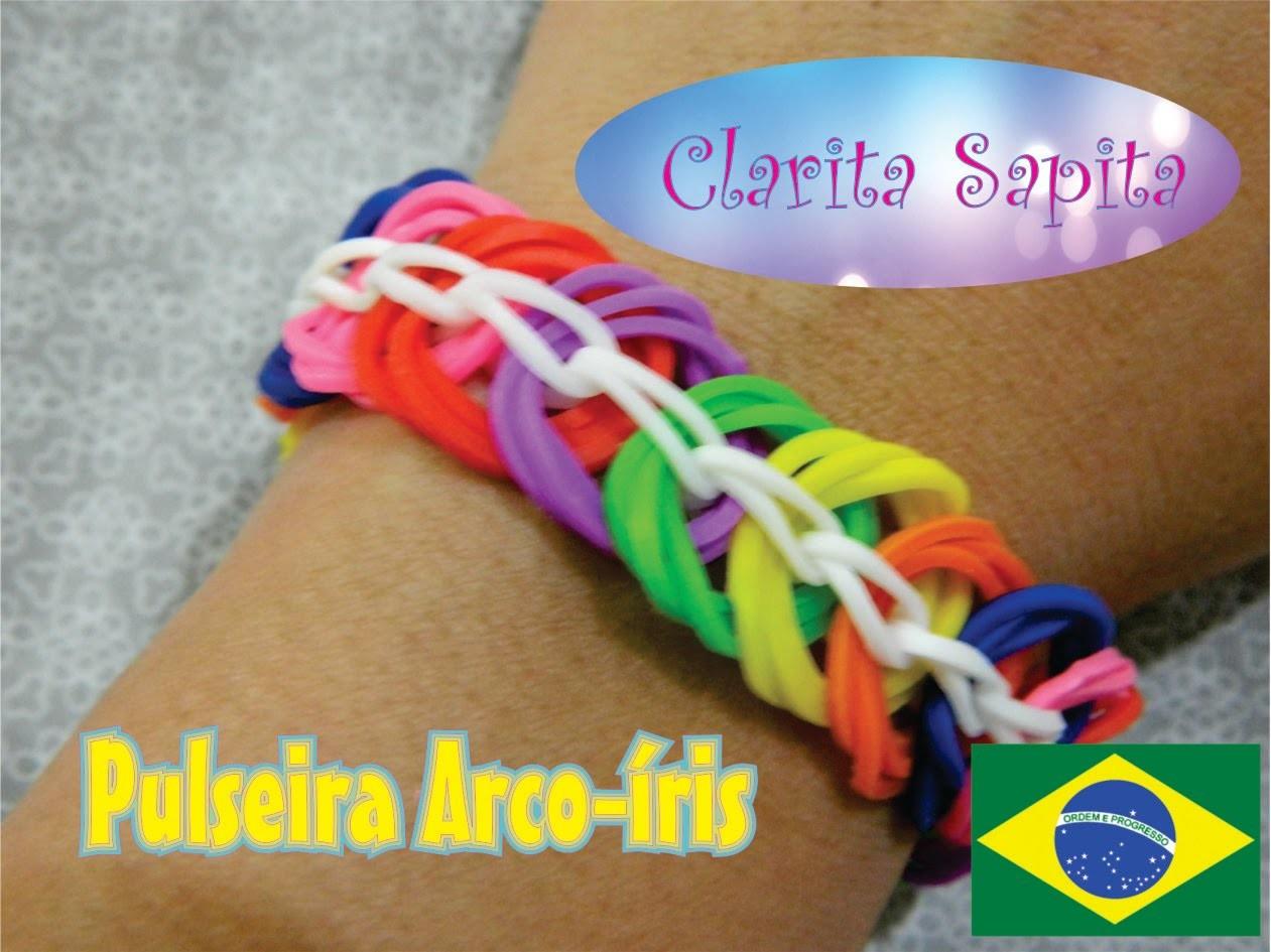 Como fazer um pulseira arco-íris de elastico (Rainbow loom) #4
