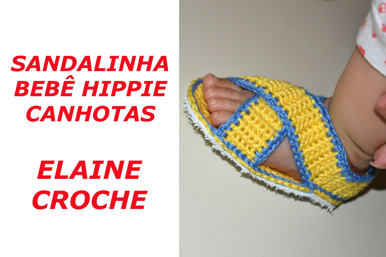 CROCHE PARA CANHOTOS - LEFT HANDED CROCHET - SANDALINHA BEBÊ HIPPIE CROCHE CANHOTAS