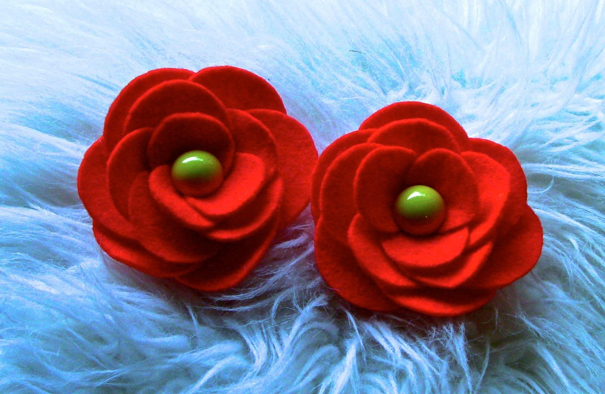 D.I.Y  Flor em Feltro com Circulos - Flower,Tutorial