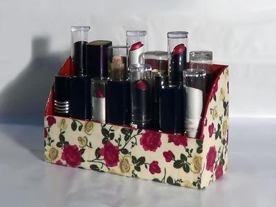 DIY - Organizador de batons. Organizer lipsticks. Barras de labios Organizador