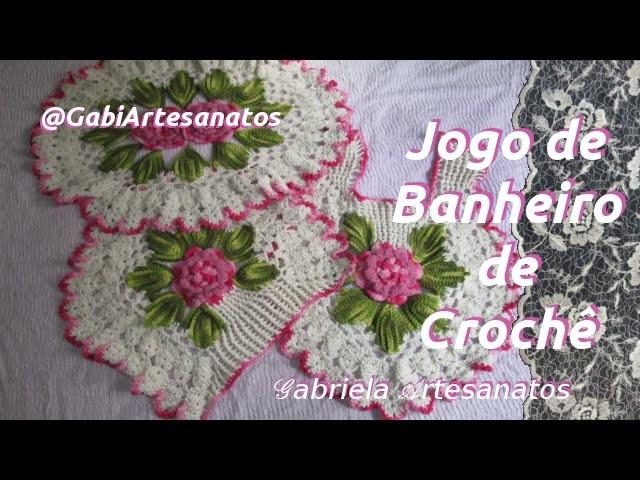 Jogo de Banheiro de Crochê com Flor Pipoca Grande