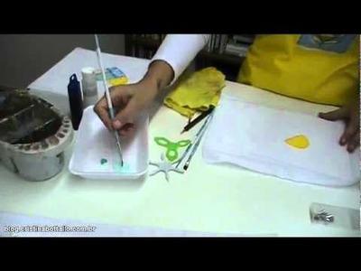 Miniaula de pintura em tecido imitando Patchwork - Parte I