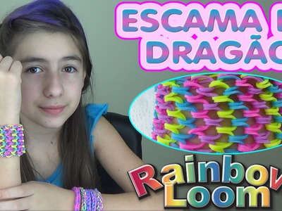 Pulseira Escama de Dragão Rainbow Loom Scale of Dragon Bracelet