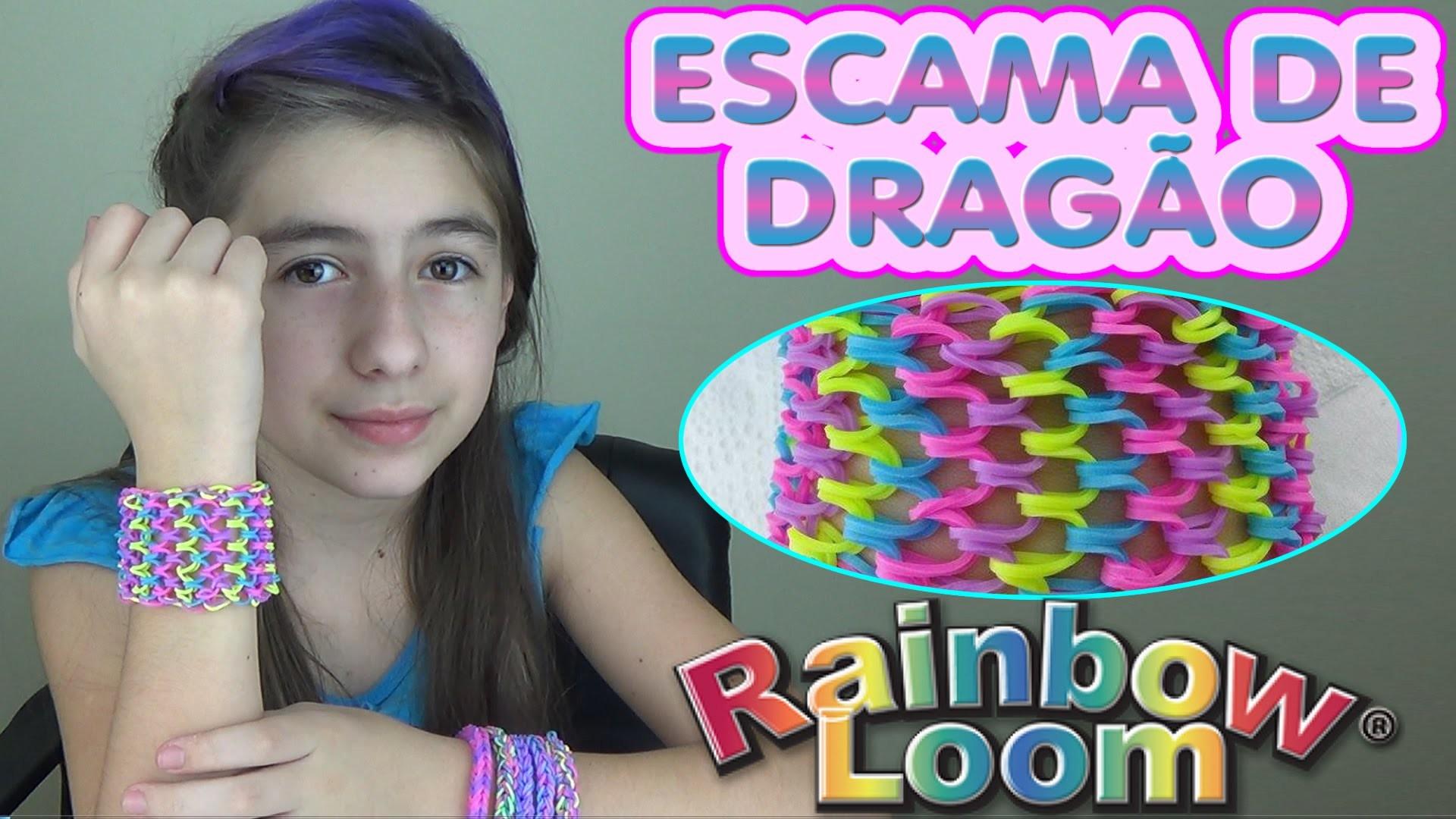 Pulseira Escama de Dragão Rainbow Loom Scale of Dragon Bracelet