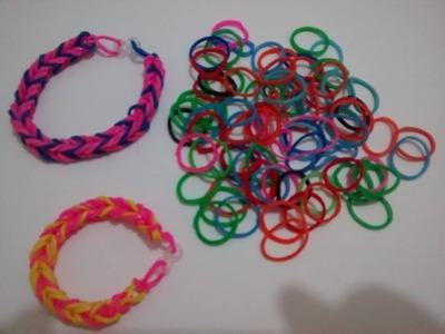 ( Pulseiras Rainbow Loom ) - Como fazer pulseira com elástico para iniciantes fácil