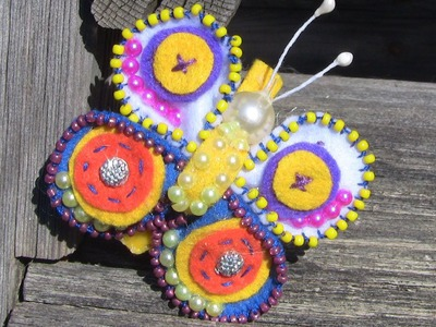 Borboleta em Feltro e miçangas Passo a Passo- Butterflies in beads and felt