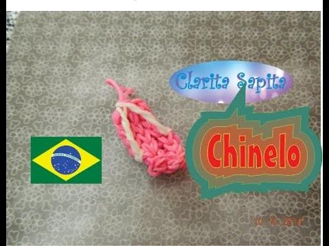Como fazer um chinelo de elastico (Rainbow loom) #14