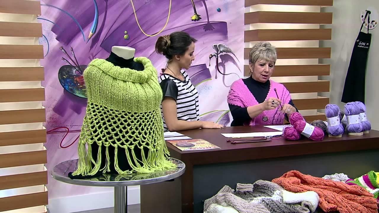 Mulher.com 25.05.2015 Vitória Quintal - Xale em tricô e crochê Parte 1.2