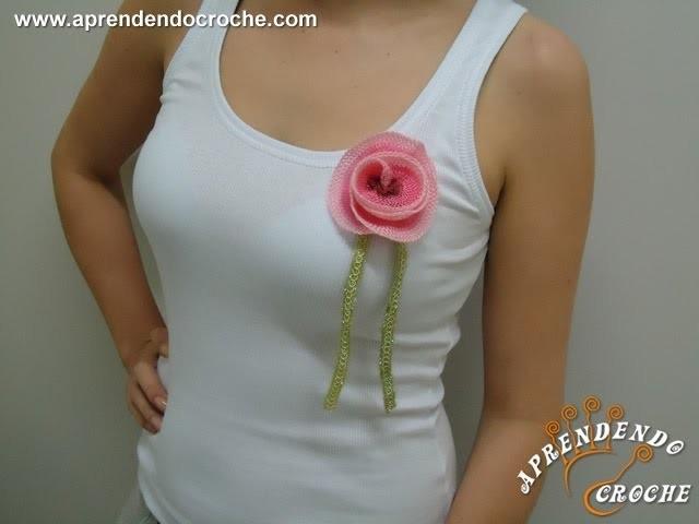 Regata com Broche de Flor - Customização com Croche - Aprendendo Crochê