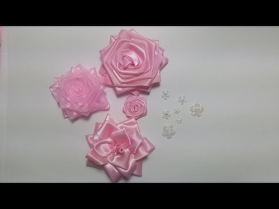 Rosa de fita de cetim facil de fazer サテンのピンクを作る