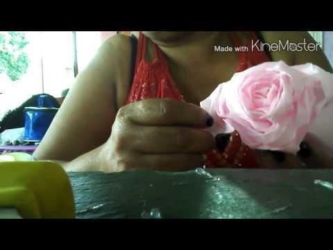 Como fazer  rosa de papel crepom