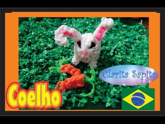 Como fazer um coelho 3d de elásticos Rainbow loom #22