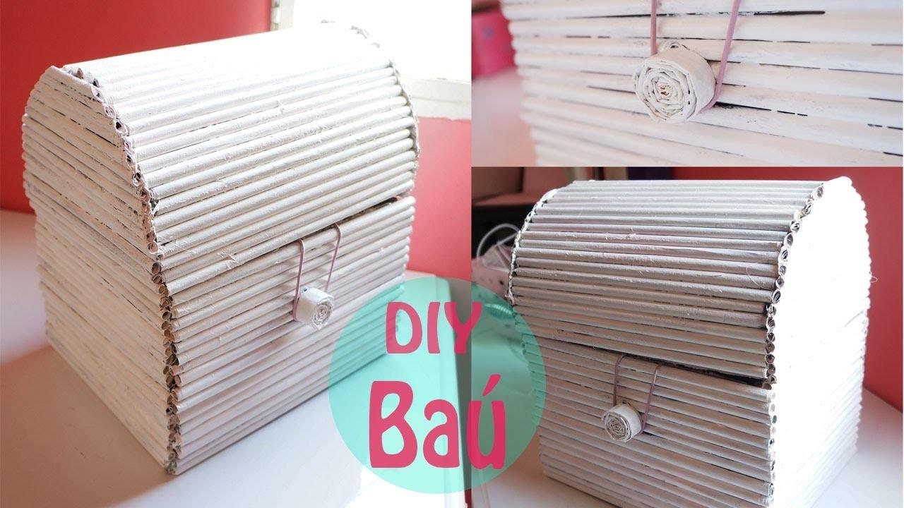 DIY: Baú decorativo com papelão e folhas de revista