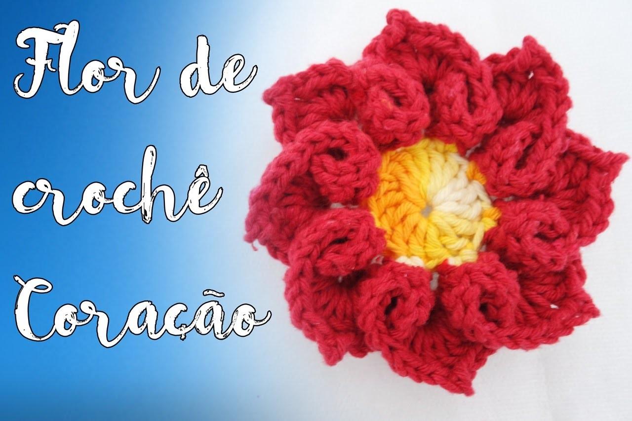 Flor de crochê coração - Passo a Passo
