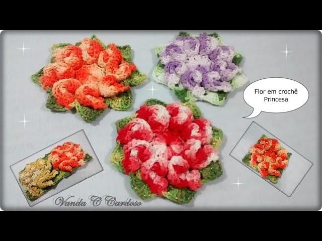 Flor para tapetes em crochê - Flor Princesa