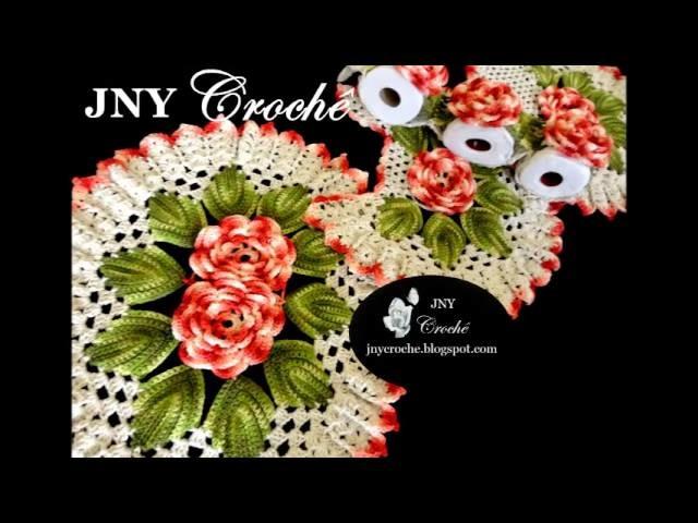 """Jogo de banheiro de crochê com flores """"Morango Silvestre"""" por JNY Crochê"""