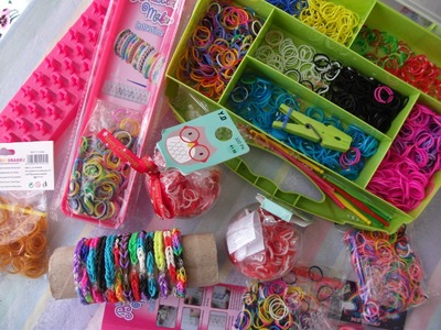 Minha coleção  de elásticos rainbow loom,♥