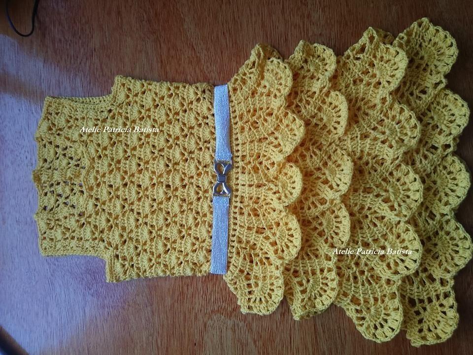 Vestido infantil feito em crochê com saia de babados Parte 3
