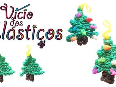 Como fazer Arvore Natal Pequena de elasticos (sem Tear) - Rainbow Loom Natal