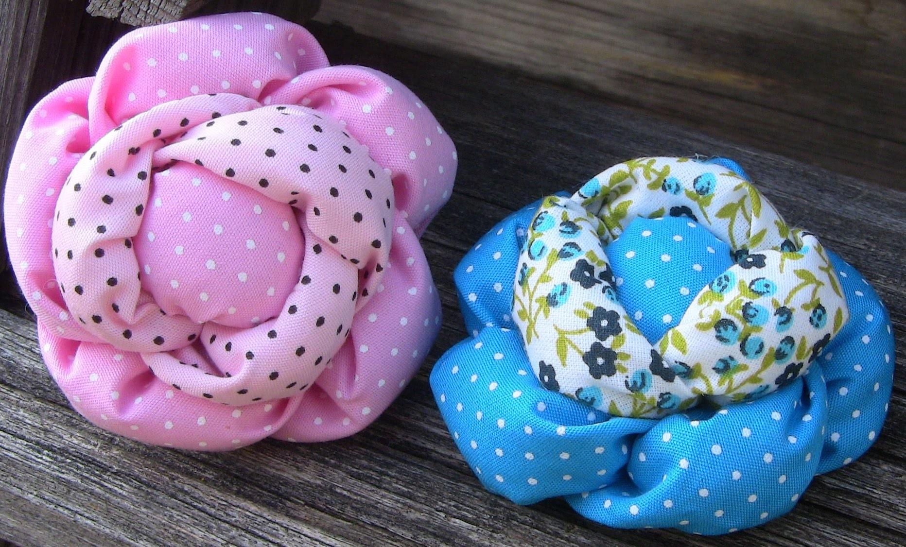 D.I.Y Rosa de Tecido com enchimento Passo a Passo - Fabric flower tutorial