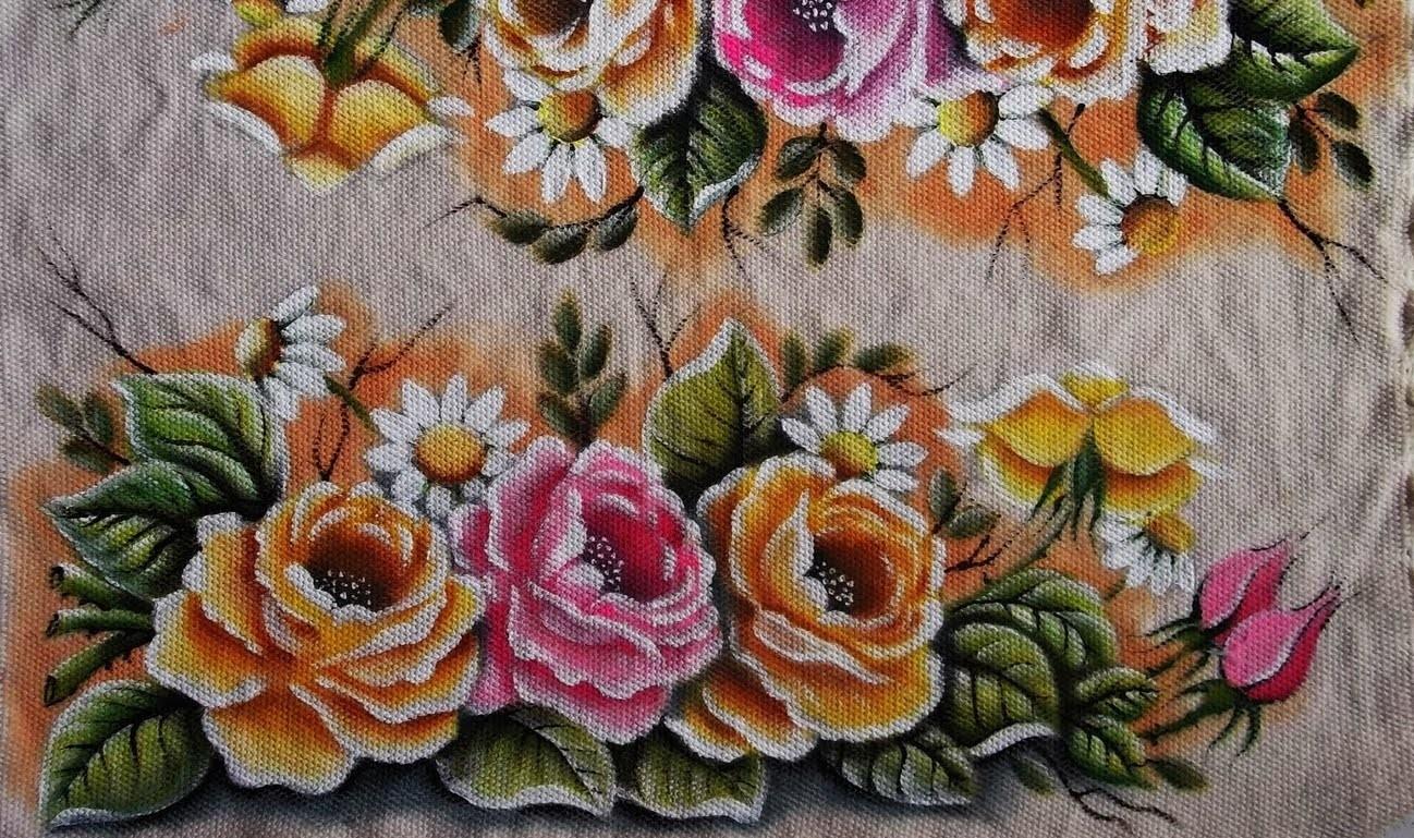 """Pintura em tecido """"Rosas parte 3""""(Final)"""