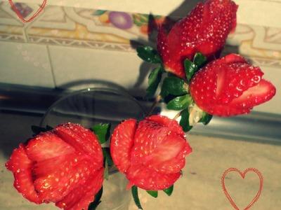 Rosas  feitas com morangos (Dia dos Namorados)