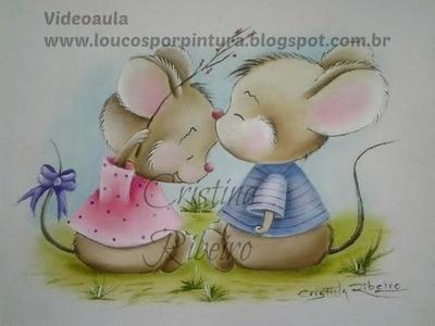Aula de pintura em tecido completa - Como pintar tema infantil - Ratinhos