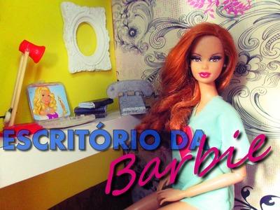 COMO FAZER UM ESCRITÓRIO PARA A BARBIE -DIY casa da Barbie- Midge Freitas