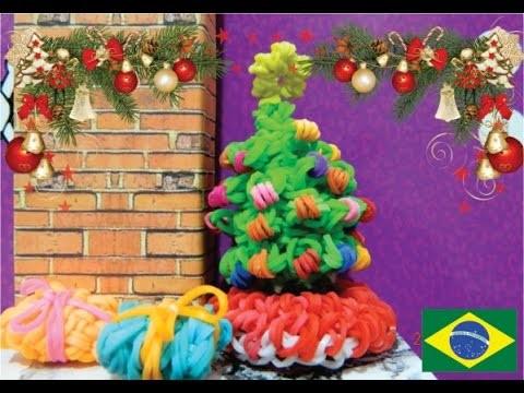 Como fazer uma arvore de natal 3d de elásticos Rainbow loom #26