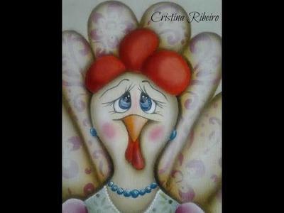 """Como pintar o projeto """"galinha lelê"""". Pintura em tecido."""