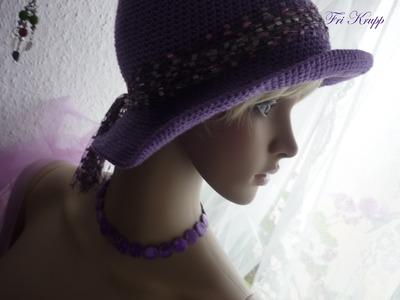 Cordao flor em croche, chapéu c.aba Häkelhut.Blumen, Kragen flowercrochet scarflette.hat