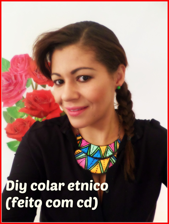 Diy colar etnico( feito com cd)