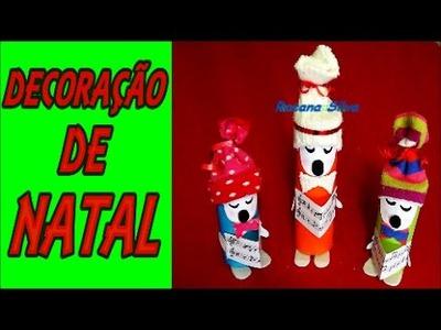 DIY DECORAÇÃO de NATAL CORAL CANTORES de ROLINHOS PAPEL HG