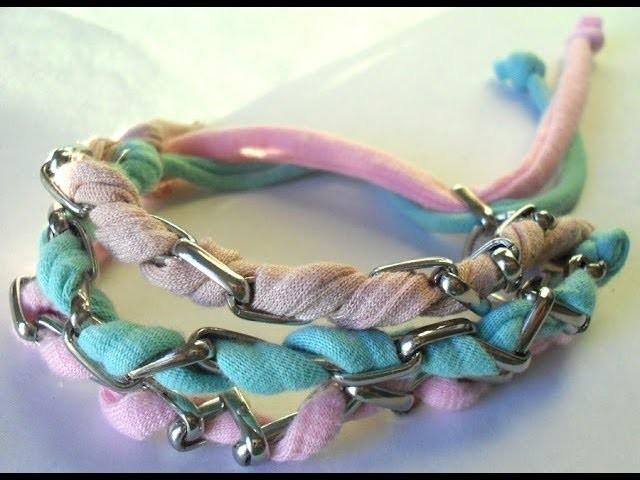 Passo a passo de pulseira Candy Colors com correntes e tiras de malha