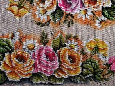 """Pintura em tecido """"Rosas  parte 2"""""""