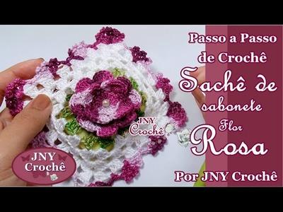 Sachê de sabonete de crochê Flor Rosa por JNY Crochê