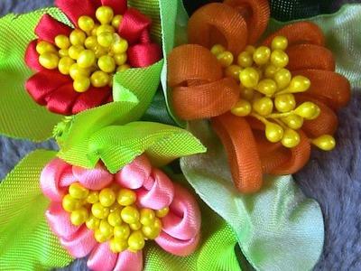 Fabric flower tutorial  - Flores em Fitas de Cetim Passo a Passo