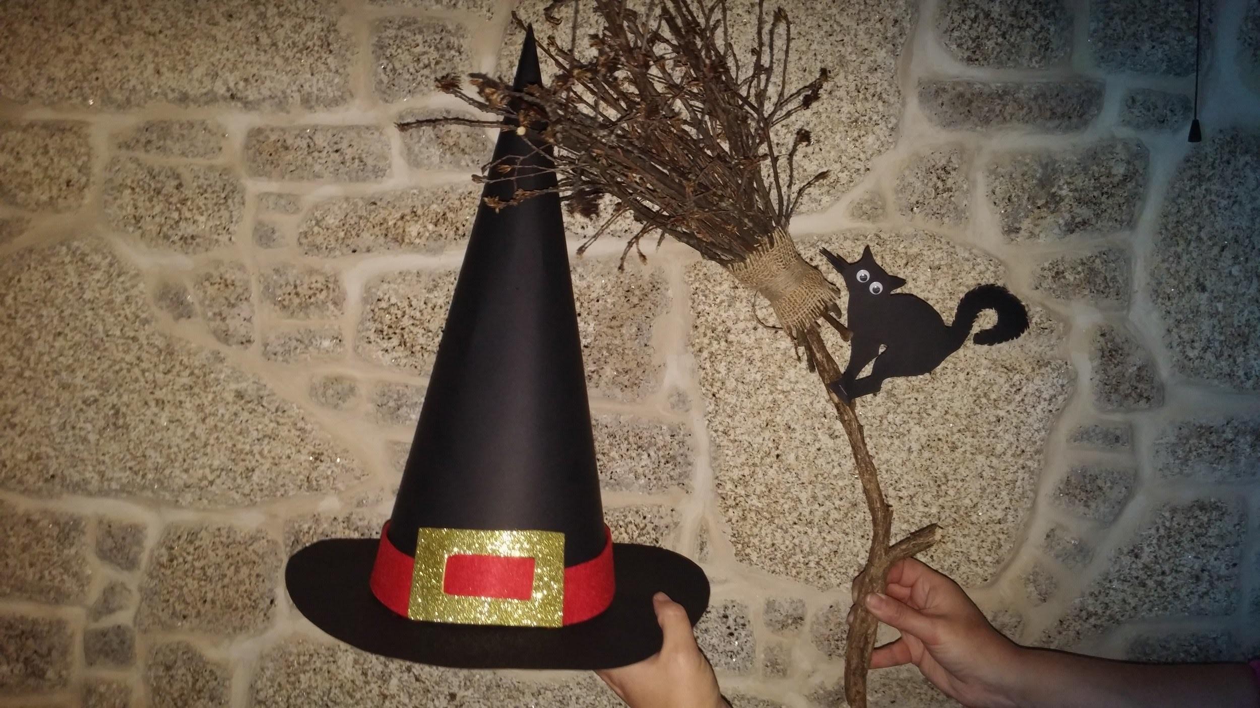 Como fazer chapéu de bruxa para Halloween - DIY - witch's hat for Halloween