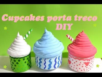 DIY Cupcackes feitos com potes de creme(porta treco e decorativos)