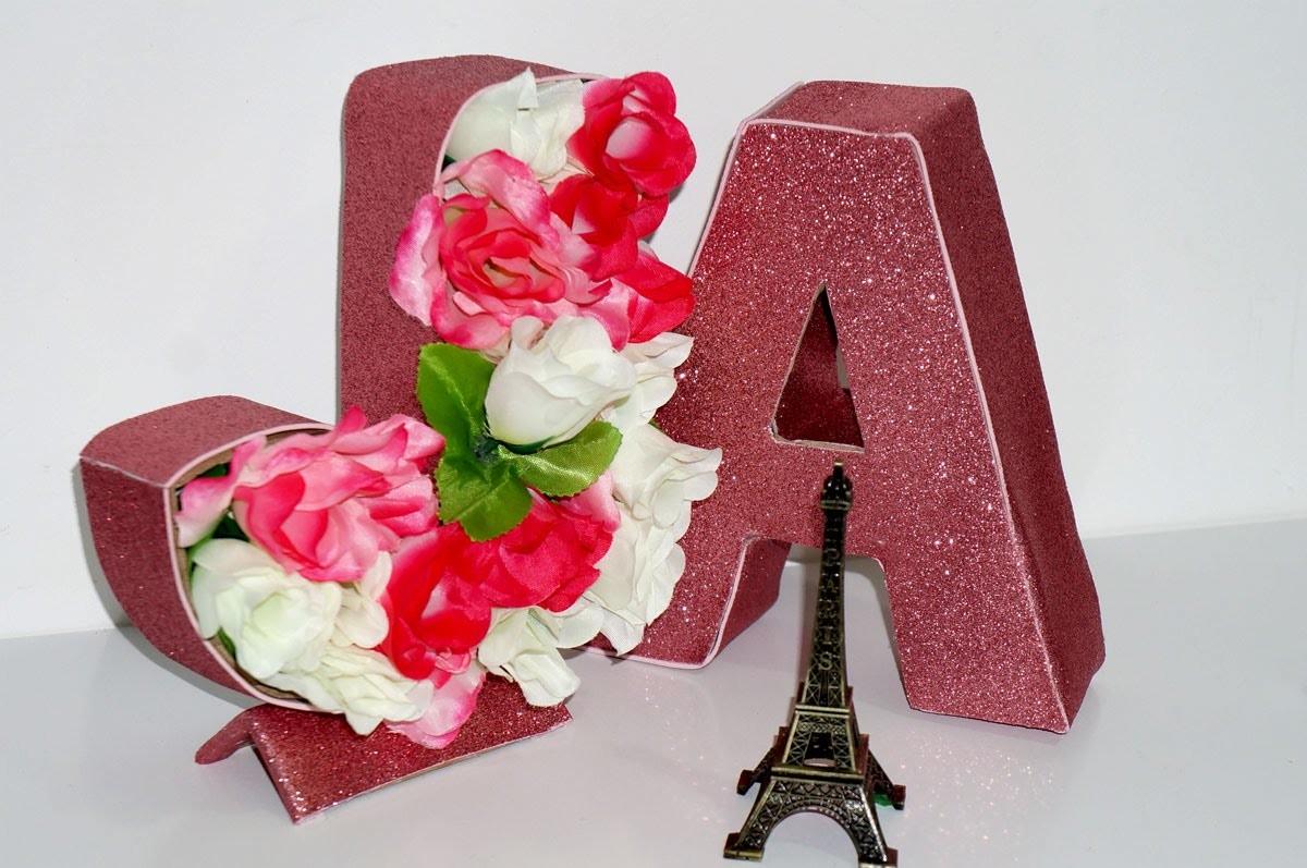 Diy Decoração Letra Floral Em 3d