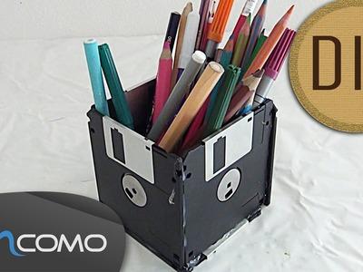 DIY Porta Lápis Feito com Disquetes